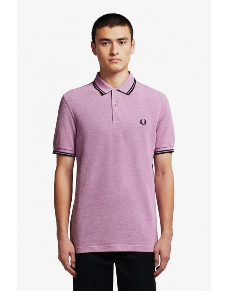 Fred Perry mauve oxford polo shirt with black trims