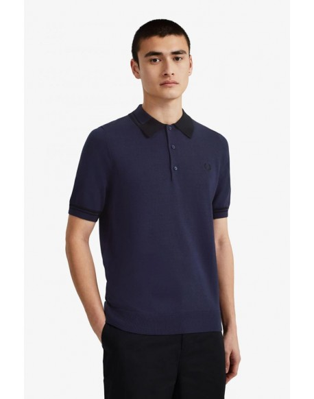 Fred Perry blue knit polo shirt K8516