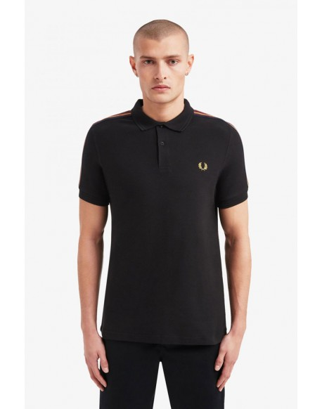 Fred Perry black polo shoulders tape