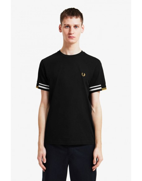 Fred Perry black t-shirt abstract design