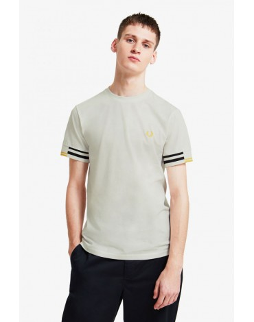 Fred Perry camiseta blanco nieve diseño abstracto