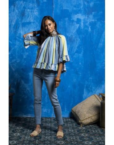 MdM blue striped blouse