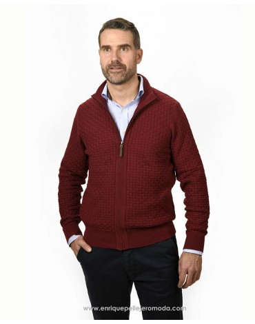 Pertegaz maroon knitted jacket man