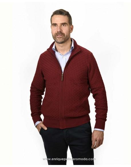 Pertegaz maroon knitted jacket man