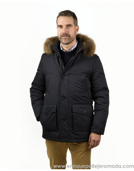 Pertegaz navy hooded parka