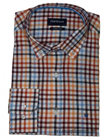 Pertegaz garnet plaid sport shirt