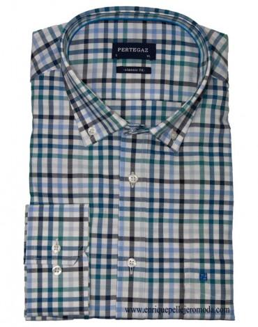 Pertegaz turquoise plaid shirt
