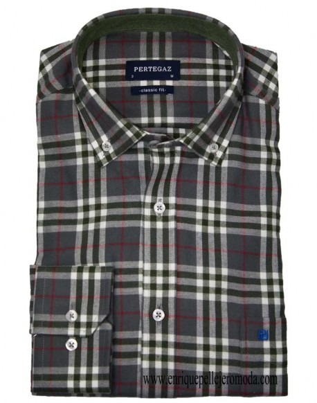 Pertegaz green plaid sport shirt