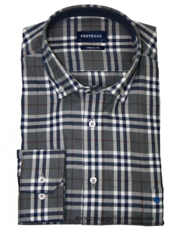 Pertegaz winter navy check shirt