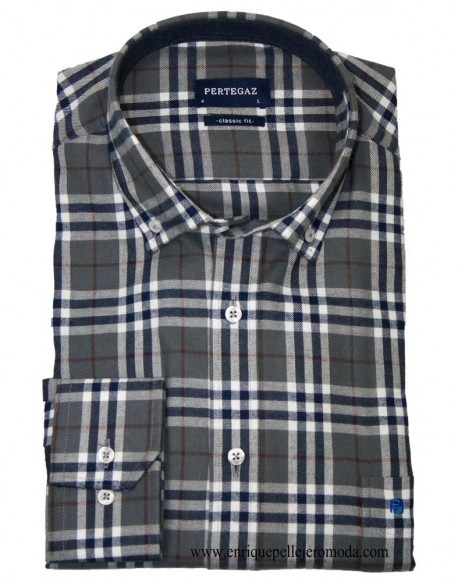 Pertegaz winter navy check shirt
