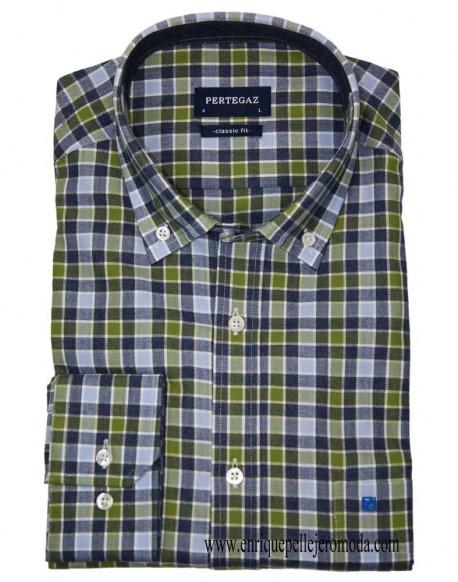 Pertegaz light blue checked shirt