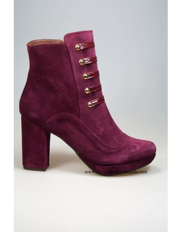 Daniela burgundy suede ankle boots