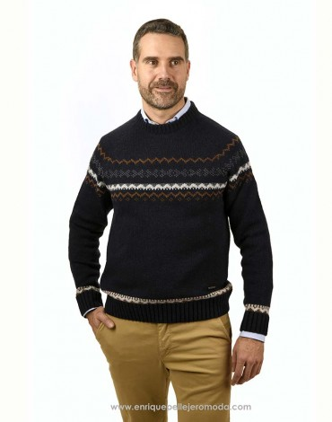 Pertegaz navy jacquard sweater