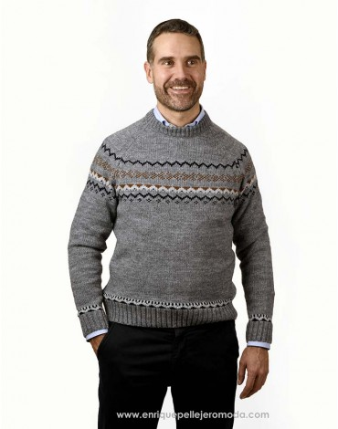 Pertegaz gray jacquard sweater