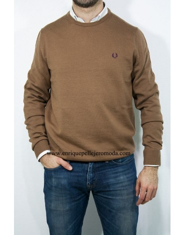 Fred Perry jersey camel cuello redondo