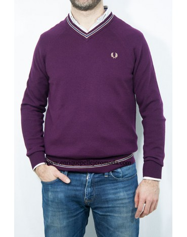 Fred Perry jersey burdeos cuello pico