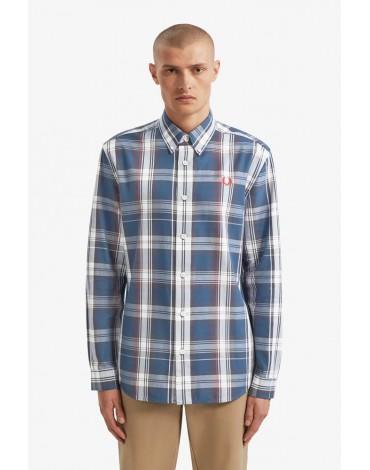 Fred Perry camisa sarga cuadros azules