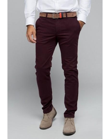 Valecuatro pantalón chino granate