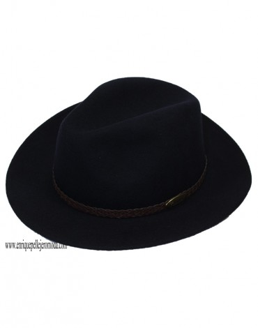 Sombrero azul marino de lana