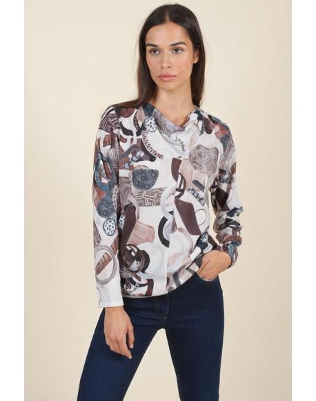 Woman printed sweater Hongo
