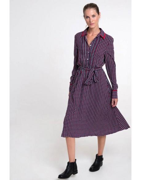 Valecuatro burgundy blue print dress