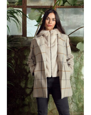 Removable plaid beige jacket Hongo