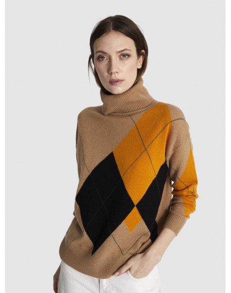 Escorpion sweater camel diamonds