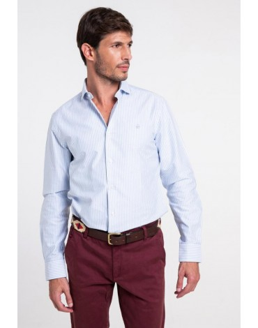 Valecuatro light blue striped shirt man