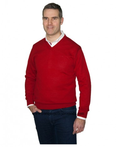 Pertegaz red V-neck sweater