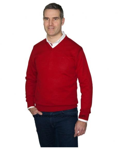 Pertegaz red V-neck sweater