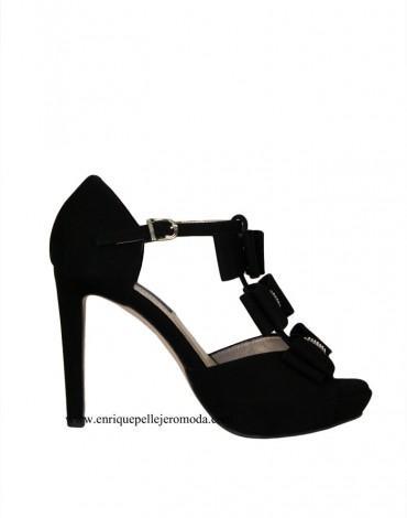 Daniela sandalias tacón negras lazos