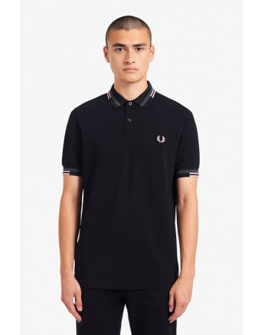 Fred Perry black polo shirt with abstract trim