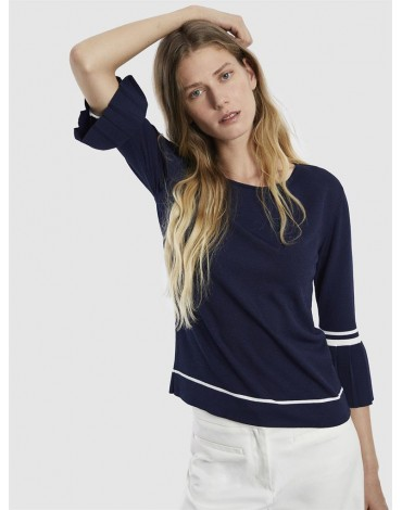 Escorpion navy sweater with pleated cuffs
