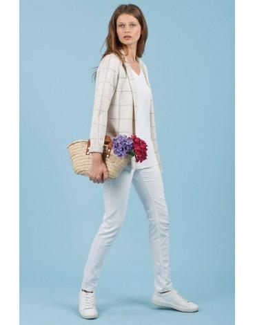 Hongo beige plaid open jacket