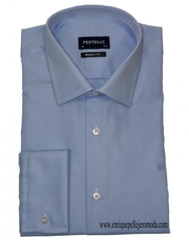 Pertegaz blue micro-drawing shirt