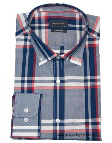 Pertegaz red blue plaid shirt