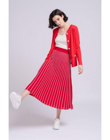 SMF red jacket buttons woman