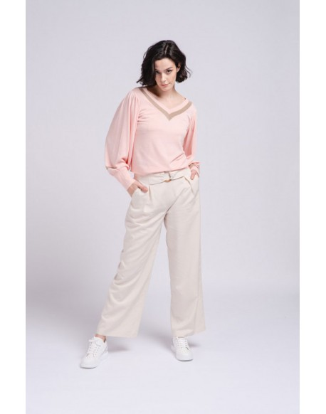SMF pink v-neck sweater woman