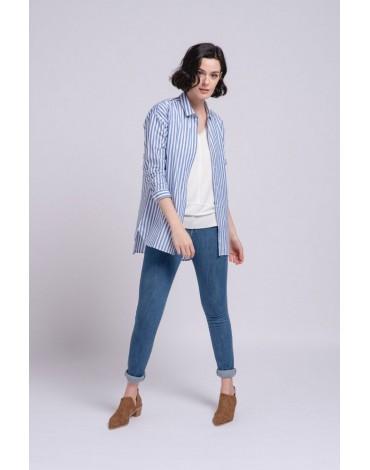 SMF women's blue stripe shirt