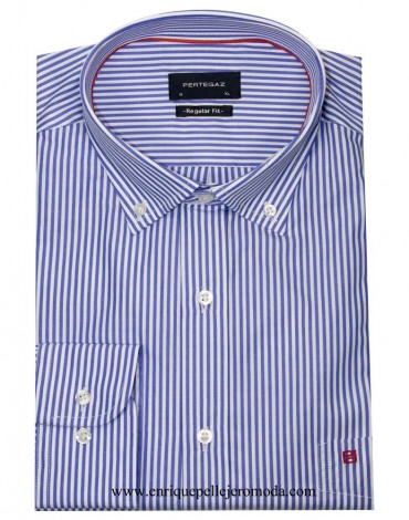 Pertegaz blue and white stripe shirt Men's shirt Pertegaz summer brand