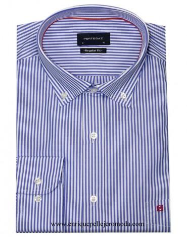 Pertegaz camisa raya azul blanca
