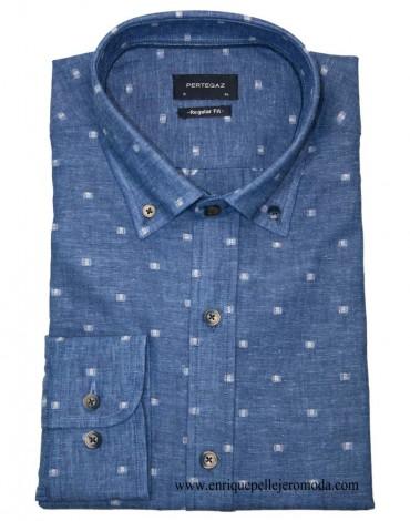 Pertegaz camisa azul dibujo
