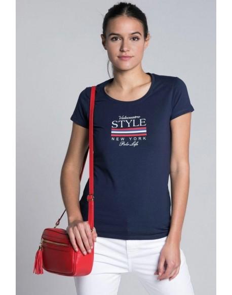 Valecuatro style navy t-shirt