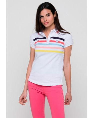 Valecuatro white polo shirt with colored stripes