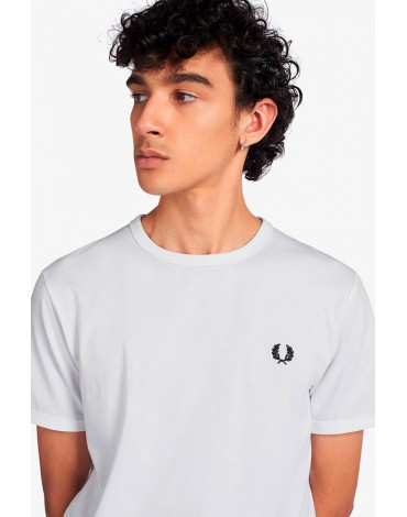 Fred Perry camiseta blanca ringer hombre