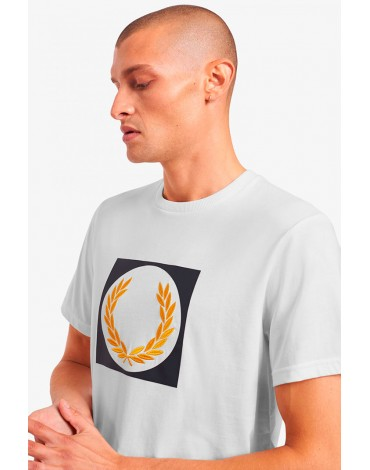 Fred Perry camiseta blanca corona laurel