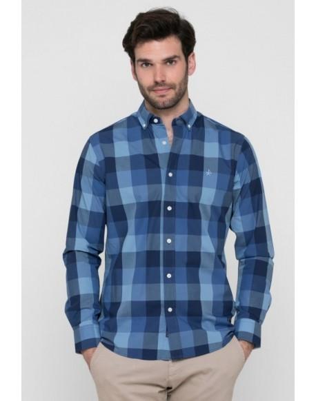 Valecuatro navy blue plaid shirt
