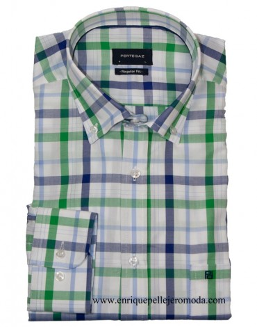 Pertegaz blue green plaid shirt