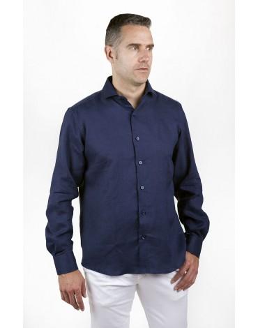 Navy blue linen shirt Enrique Pellejero