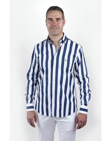 Navy blue striped shirt Enrique Pellejero
